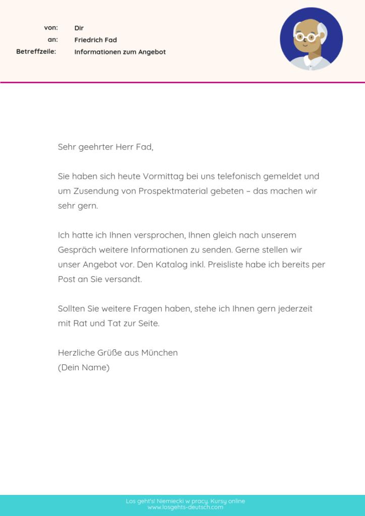 e-maile po niemiecku przykłady